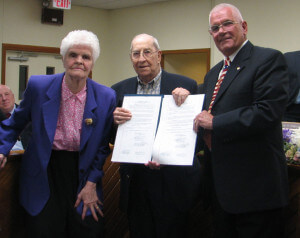 James L. McKelvey with Dot McKelvey (L), 4th W. Comm. Jon Firlein (R)