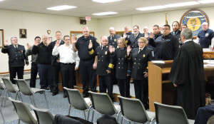Delaware County President Judge Chad Kenney presided over swearing in ceremonies for officers and the board of Aston Township Fire Department #17.