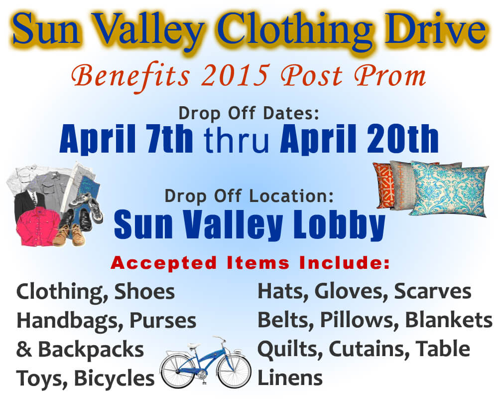 Clothing Drive to benefit Sun Valley Post Prom 2015