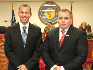 Thomas Piraino and Jonathan Curtis were hired as part-time Aston Township police officers. (photo by Loretta Rodgers)
