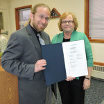 Aston 2nd Ward Commissioner Carol Graham presented Aston Public Library Director Stephen Sarazin with a proclamation in recognition of National Library Week, which will take place April 10-16. Photo by Loretta Rodgers