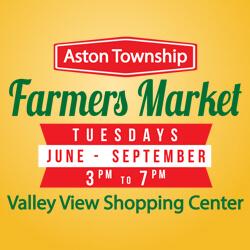 Aston Farmers Market- Tuesdays,  June – September