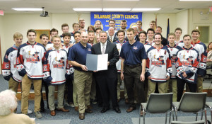Delaware County Council presented a resolution to the Aston Rebels Ice Hockey Team.