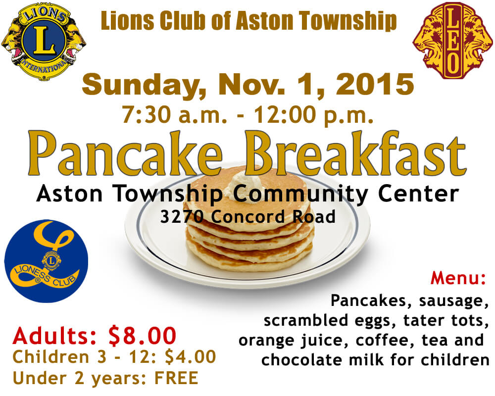 Aston Lions Pancake Breakfast