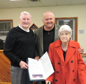 Aston Commissioner Jim McGinn presented longtime township residents Bill and Nora Galbraith with a proclamation on the event of their 65th wedding anniversary. Photo by Loretta Rodgers