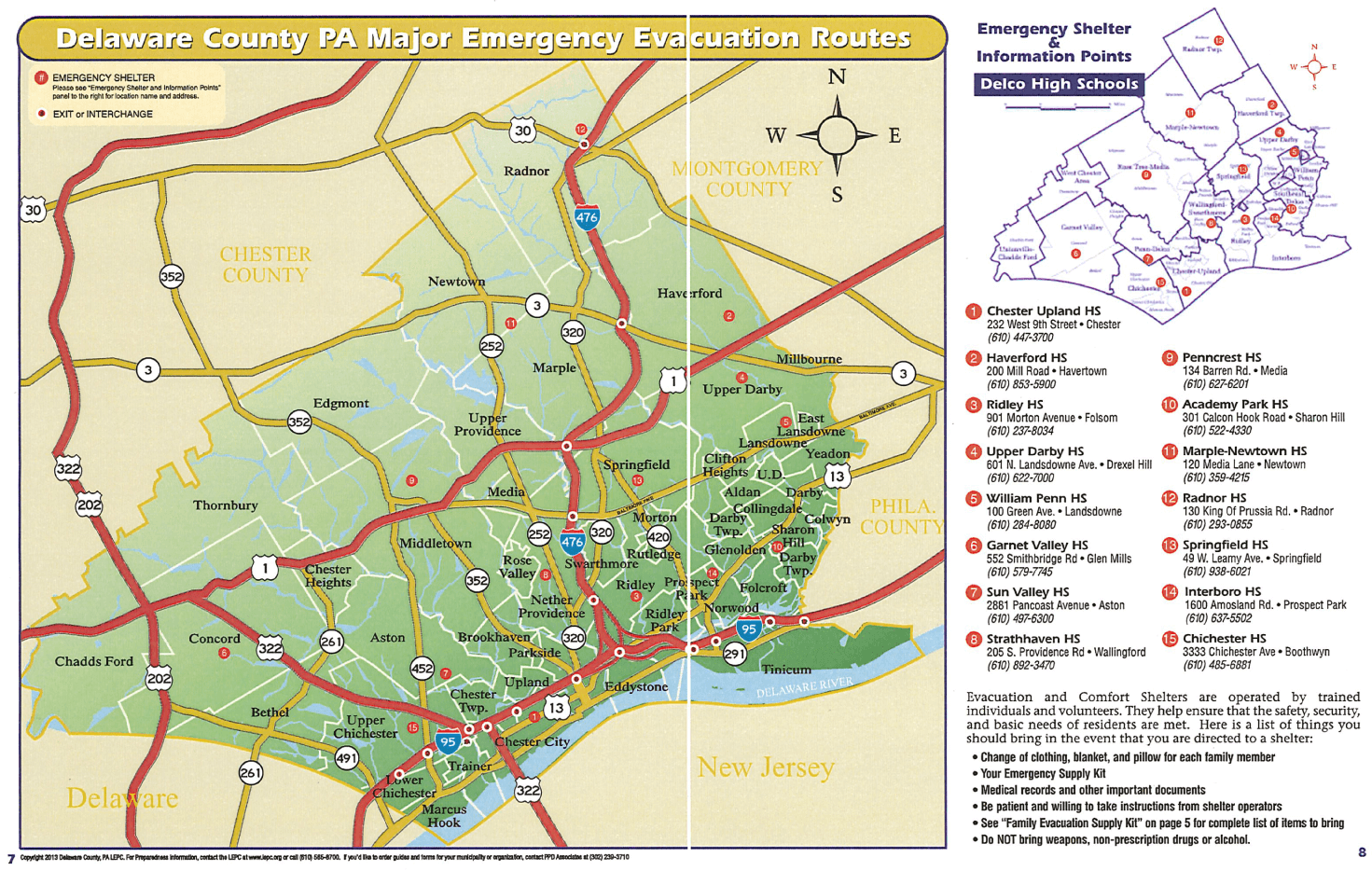Delaware County Major Emergency Evacuation Routes